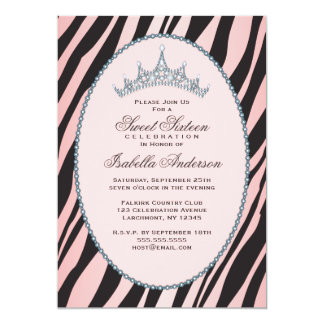 Partido Glam da princesa Tiara Zebra Cor-de-rosa Convite