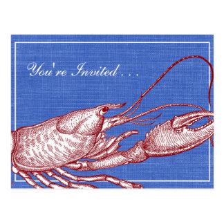 Partido náutico da praia do assar da lagosta do cartão postal