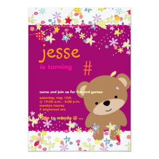 Partido personalizado minúsculo do urso de ursinho convite 12.7 x 17.78cm