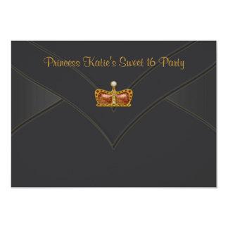 Partido preto da princesa Coroa Doce 16 do ouro Convites Personalizado