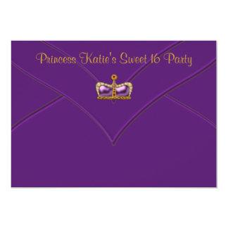 Partido roxo da princesa Coroa Doce 16 do ouro Convites Personalizado