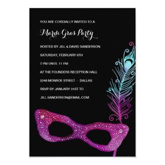 Partido roxo do carnaval do mascarada da máscara | convite 12.7 x 17.78cm