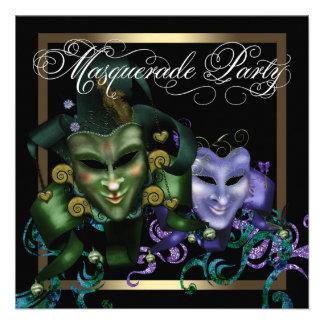 Partido roxo do mascarada do ouro preto elegante convite