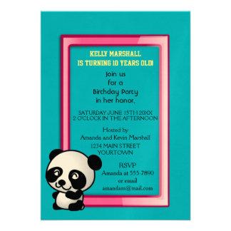 Partido! Urso de panda preto e branco bonito Convite 12.27 X 17.78cm