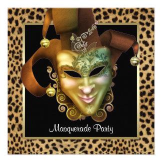 Partido vermelho do mascarada da máscara do leopar convites personalizados