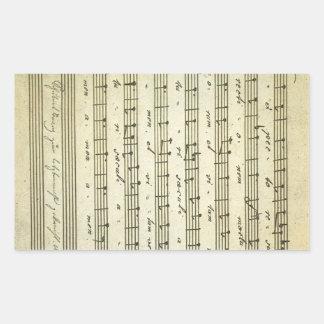 Partitura do vintage, contagem musical antiga 1810 adesivo retangular