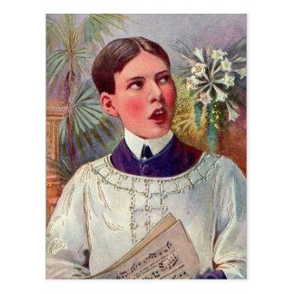 Páscoa católica do menino de altar do kitsch retro cartão postal