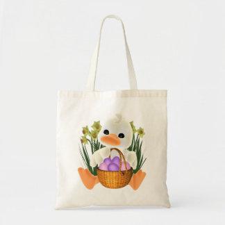 Páscoa do primavera Ducky com cesta do ovo Bolsa Tote