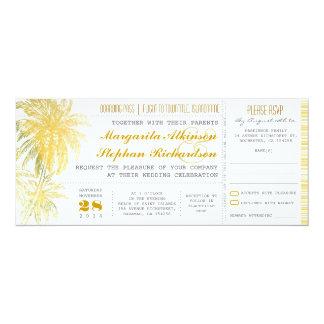"""Passagem amarela tropical do bilhete-embarque do convite 10.16"""" x 23.49cm"""