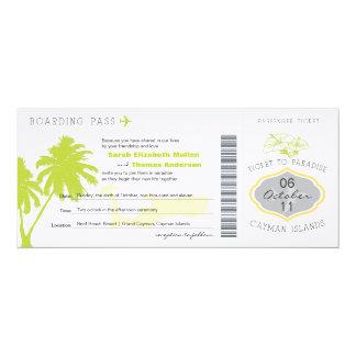 """Passagem de embarque a Cayman Islands que Wedding Convite 10.16"""" X 23.49cm"""