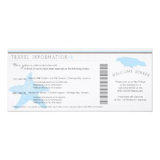 """Passagem de embarque à informação de viagem do convite 10.16"""" x 23.49cm"""