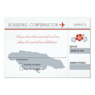 Passagem de embarque de RSVP a JAMAICA Convite 8.89 X 12.7cm