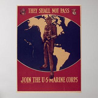Passagem-Não se juntarão aos fuzileiros navais dos Poster