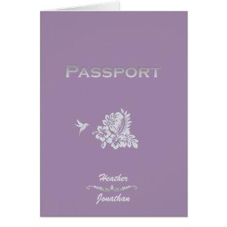 Passaporte & hibiscus do convite do casamento do cartão de nota