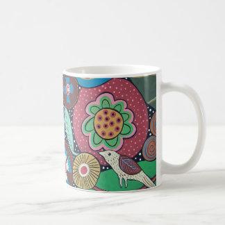 Pássaro 3 botânico caneca de café