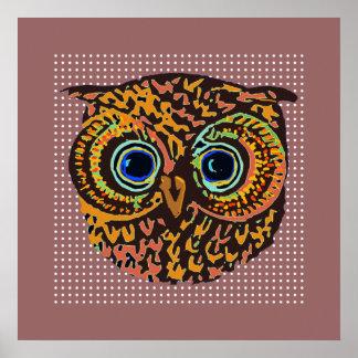 pássaro bonito decorativo da coruja poster