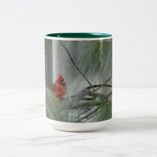 Pássaro cardinal, inverno, evergreen canecas
