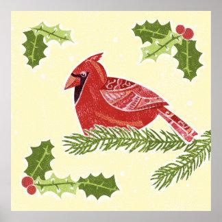 Pássaro cardinal no ramo com Natal Desig do Pôsteres