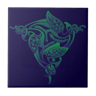 Pássaro celta verde Roxo-Azul Azulejo Quadrado Pequeno