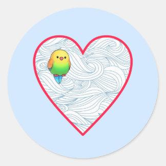 Pássaro de bebê bonito no coração vermelho doce adesivo