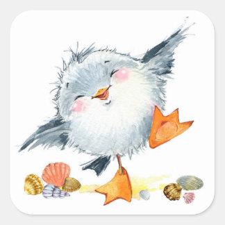 Pássaro de costa e etiqueta doces dos escudos