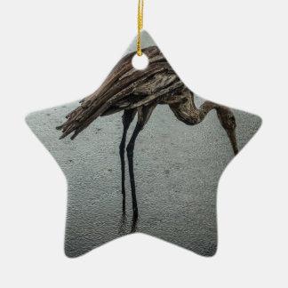 Pássaro de madeira na chuva ornamento de cerâmica estrela
