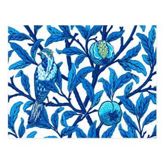 Pássaro de Nouveau da arte e romã, azul cobalto Cartão Postal