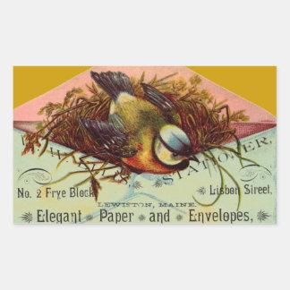 Pássaro do anúncio do vintage em etiquetas do adesivo retangular