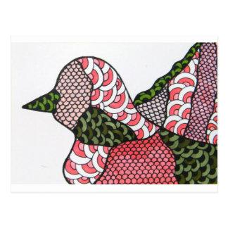 Pássaro do Doodle Cartão Postal