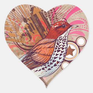 Pássaro do Grunge mim Adesivo Coração