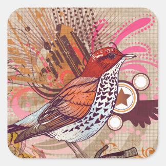 Pássaro do Grunge mim Adesivo Quadrado