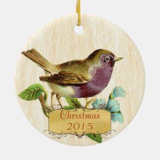 Pássaro do roxo do vintage da foto de família do ornamento de cerâmica