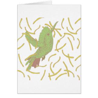 Pássaro e batatas fritas cartão