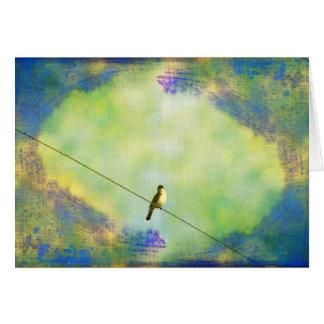 Pássaro no fio cartao