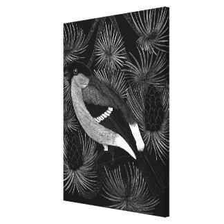 Pássaro preto e branco impressão de canvas esticada