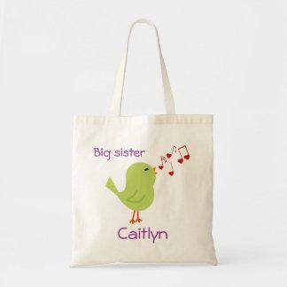 Pássaro verde o bolsa personalizado da irmã mais v