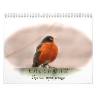 Pássaros animais que espalham seu calendário das