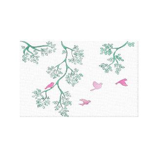 Pássaros cor-de-rosa impressão em canvas