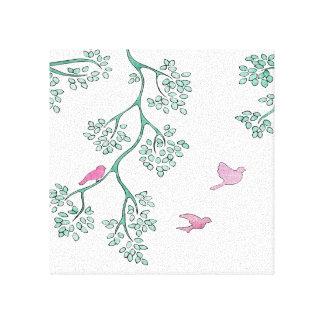 Pássaros cor-de-rosa impressão de canvas envolvidas