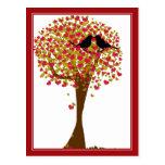Pássaros do amor do outono cartoes postais