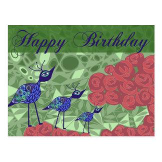pássaros do jardim de rosas & da arte - cartão do  cartao postal