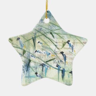 Pássaros do vento ornamento de cerâmica estrela