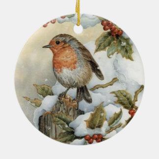 Pássaros dos ornamento das bagas do azevinho dos