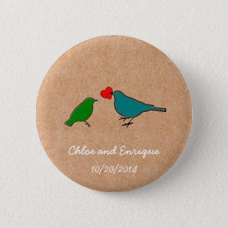 Pássaros e botão bonito do casamento do coração do bóton redondo 5.08cm
