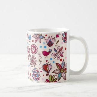 passaros e flores de COM do padrão Caneca De Café