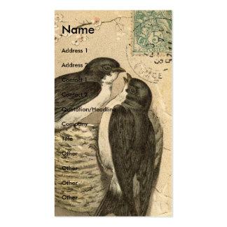 Pássaros e ninho do vintage cartão de visita