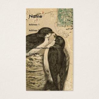Pássaros e ninho do vintage cartão de visitas