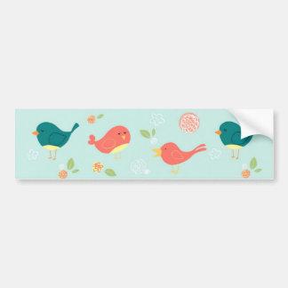 Pássaros em listras com flores adesivo para carro