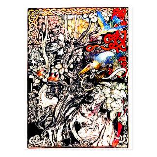 Pássaros em uma árvore cartão postal