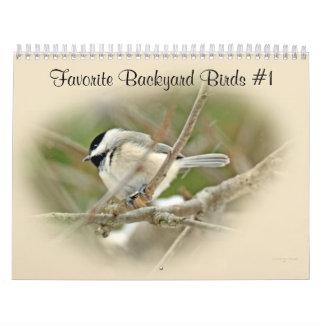 Pássaros favoritos #1 do quintal do calendário